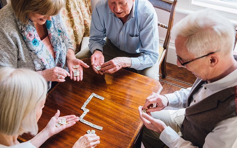 Grand Meadows residents playing a game
